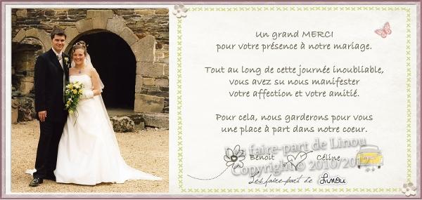 carte de remerciements mariage the birds - Modele Carte Remerciement Mariage
