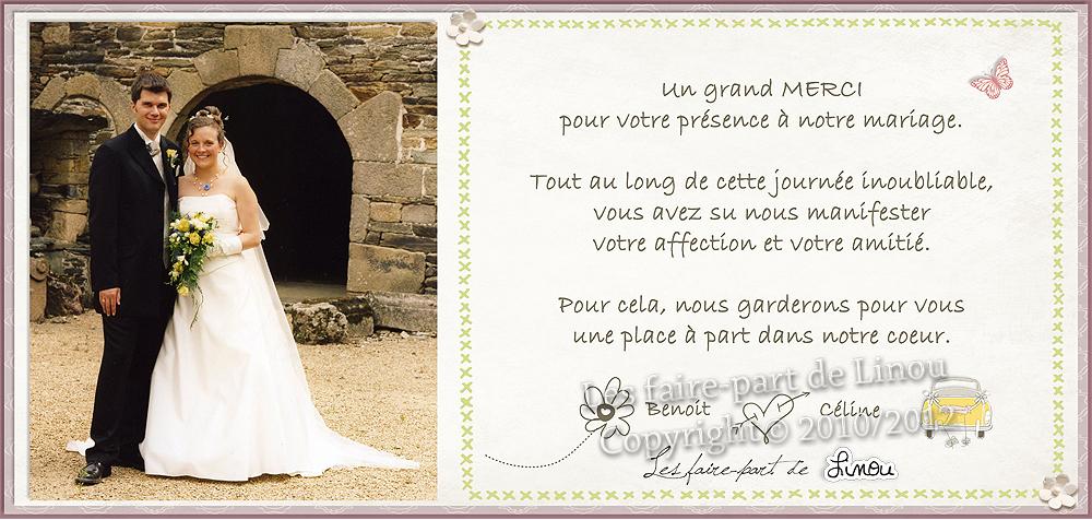 Faire Part Merci Mariage