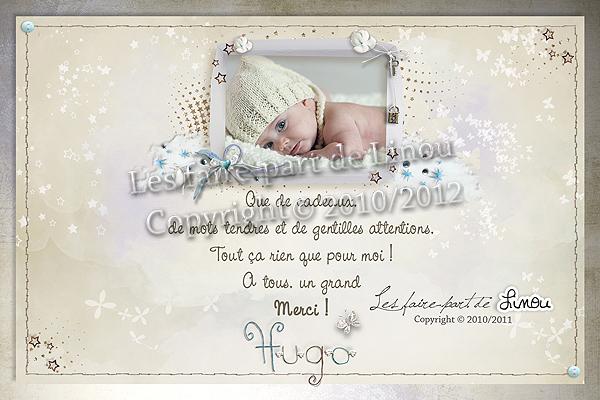 Carte de remerciements &;modèle hugo bis&;