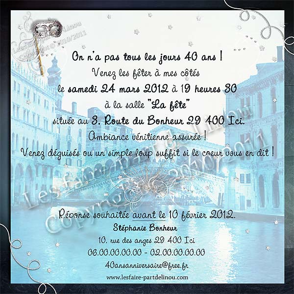 carte d 39 invitation d 39 anniversaire r alis e sur le th me de venise. Black Bedroom Furniture Sets. Home Design Ideas