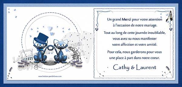 """Modèle """"Cathy & Laurent / remerciements"""" – Carte de remerciements"""