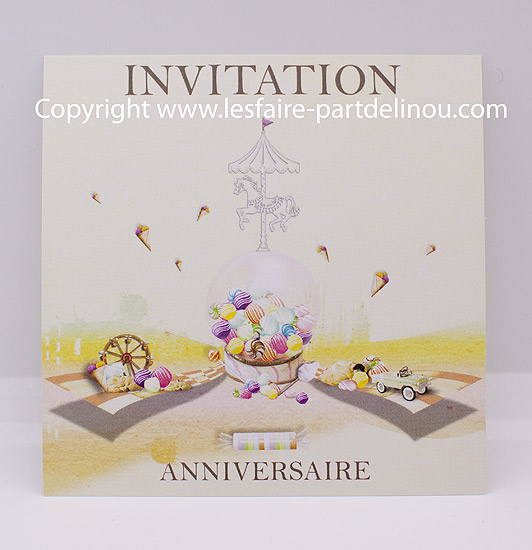 Invitation Anniversaire Sur Le Theme Fete Foraine Au Format 10 10 Cm Recto Verso