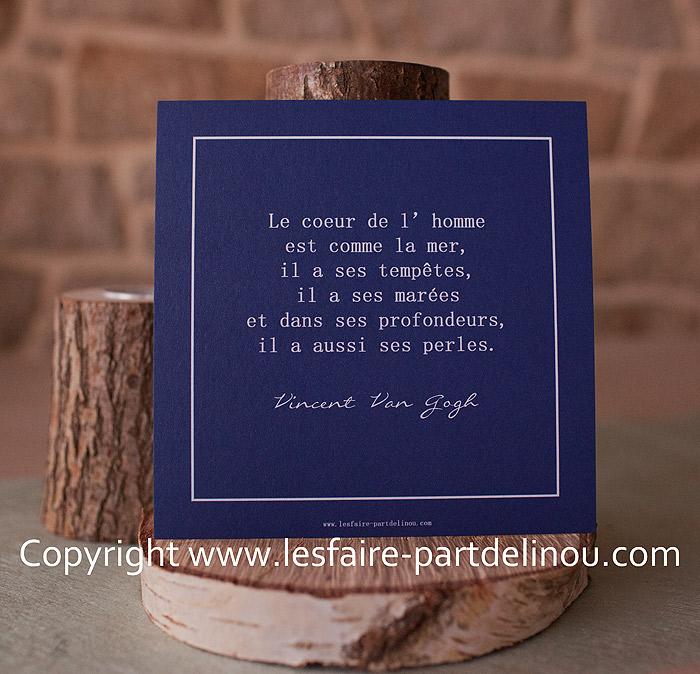 Carte Avec Une Citation De Vincent Van Gogh Les Faire Part De Linou