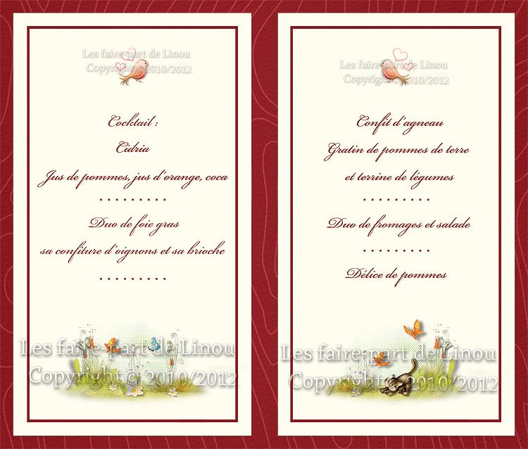 Menu Coordonnée Au Faire Part Noces Dor 50 Ans De Mariage