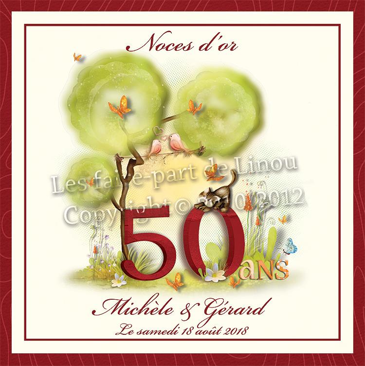 Faire Part Pour Invitation Noces Dor 50 Ans De Mariage